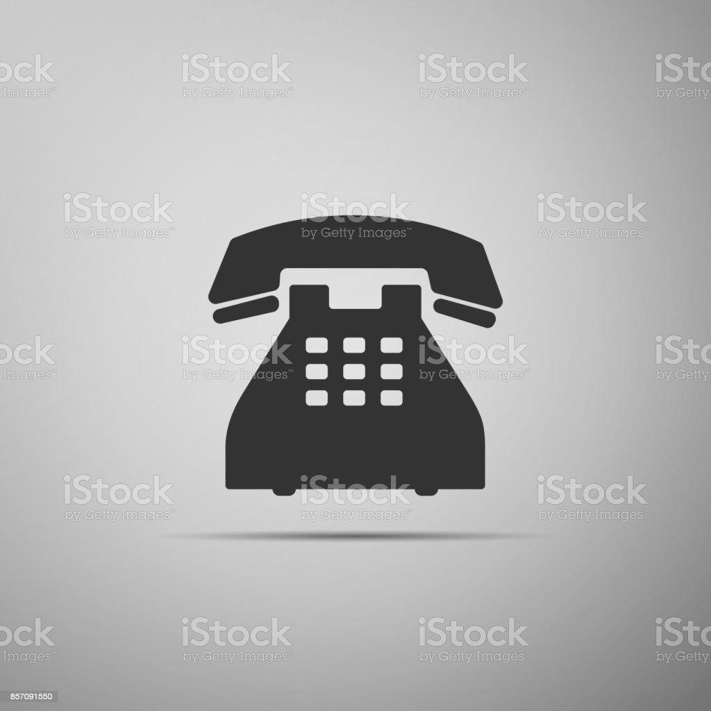 Telephone Icon Isolated On Grey Background Landline Phone