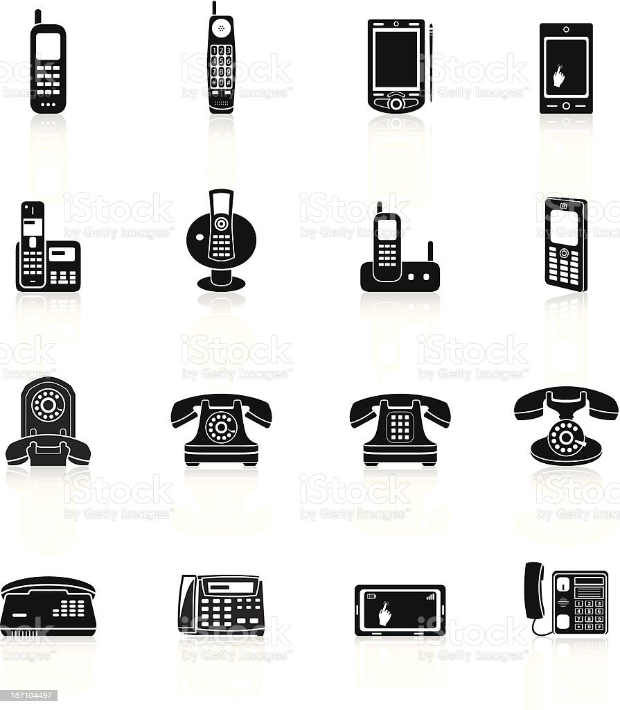 Telephone Icons - Black Series royalty-free telephone icons black series stock vector art & more images of answering machine