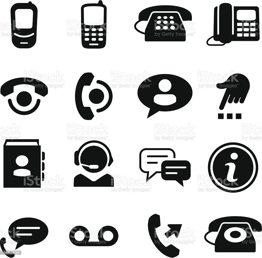Telephone Icons - Black Series vector art illustration