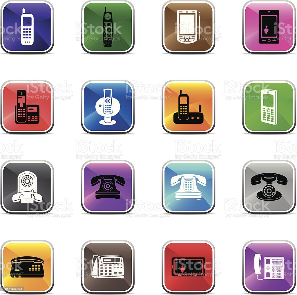Telephone Icons - Shiny Colors royalty-free stock vector art