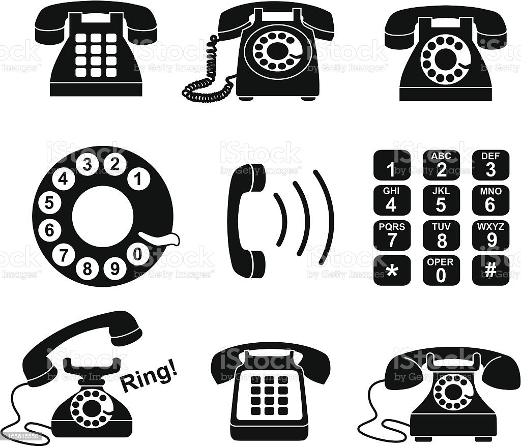 telephone icons vector art illustration