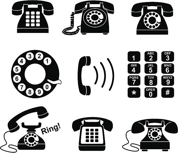 telephone icons Vector icons with a telephone theme. 20th century style stock illustrations