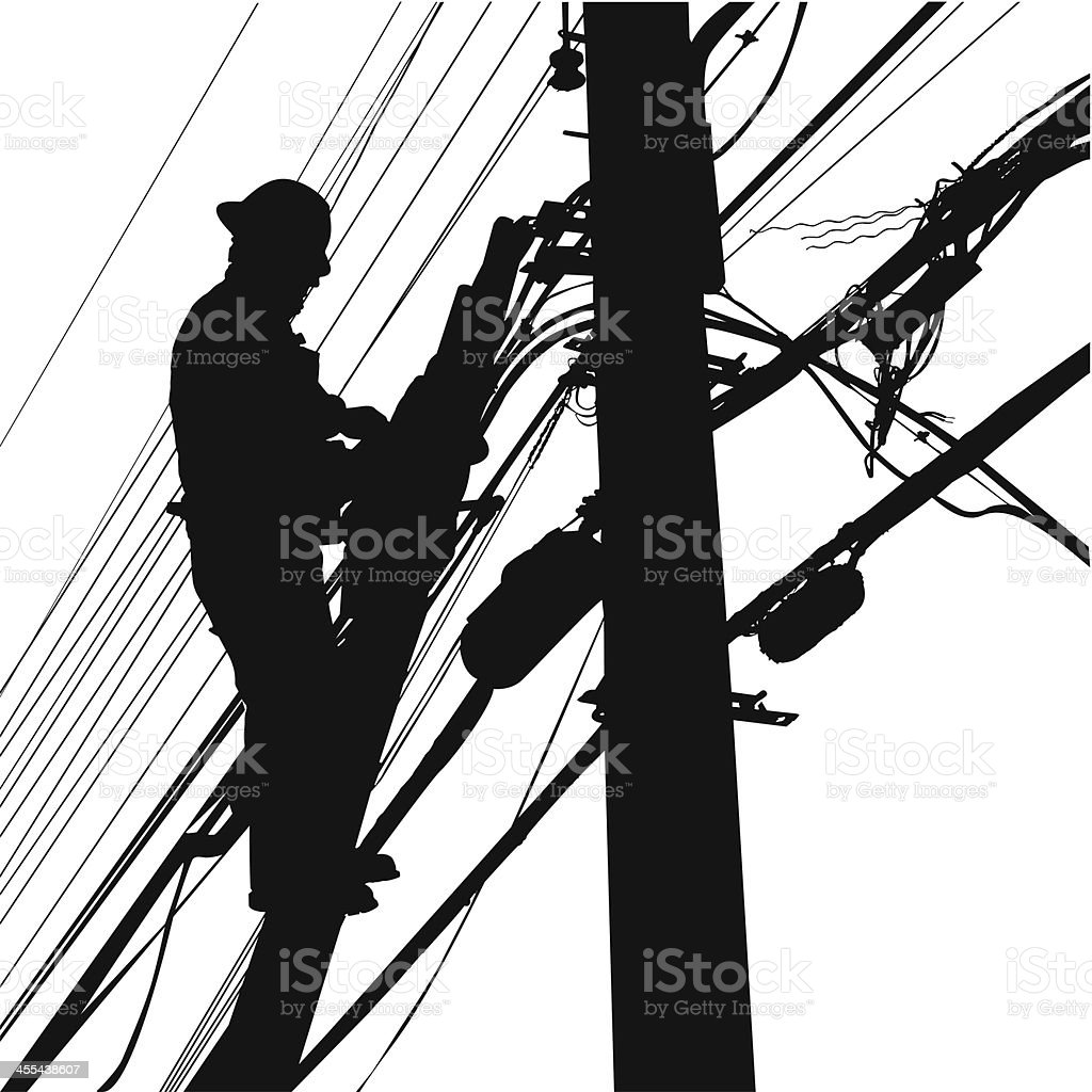Telephone Lines Worker royalty-free stock vector art