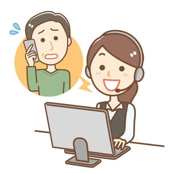 電話オペレーターのイラスト - オペレーター 日本人点のイラスト素材/クリップアート素材/マンガ素材/アイコン素材
