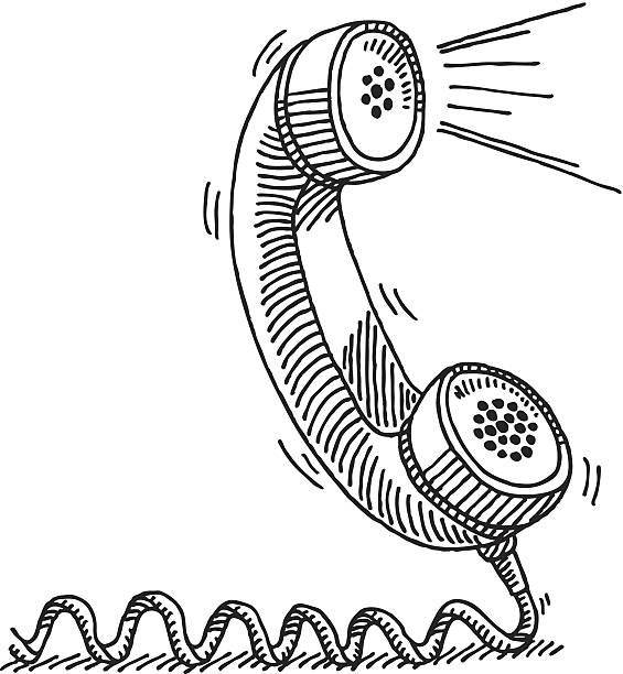Telephone Receiver Active Voice Drawing vector art illustration