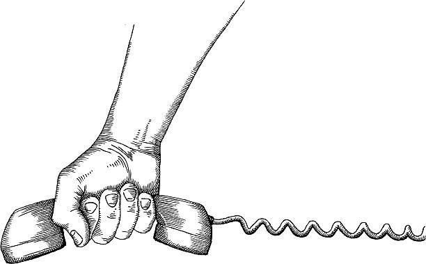 телефонная трубка - hand holding phone stock illustrations