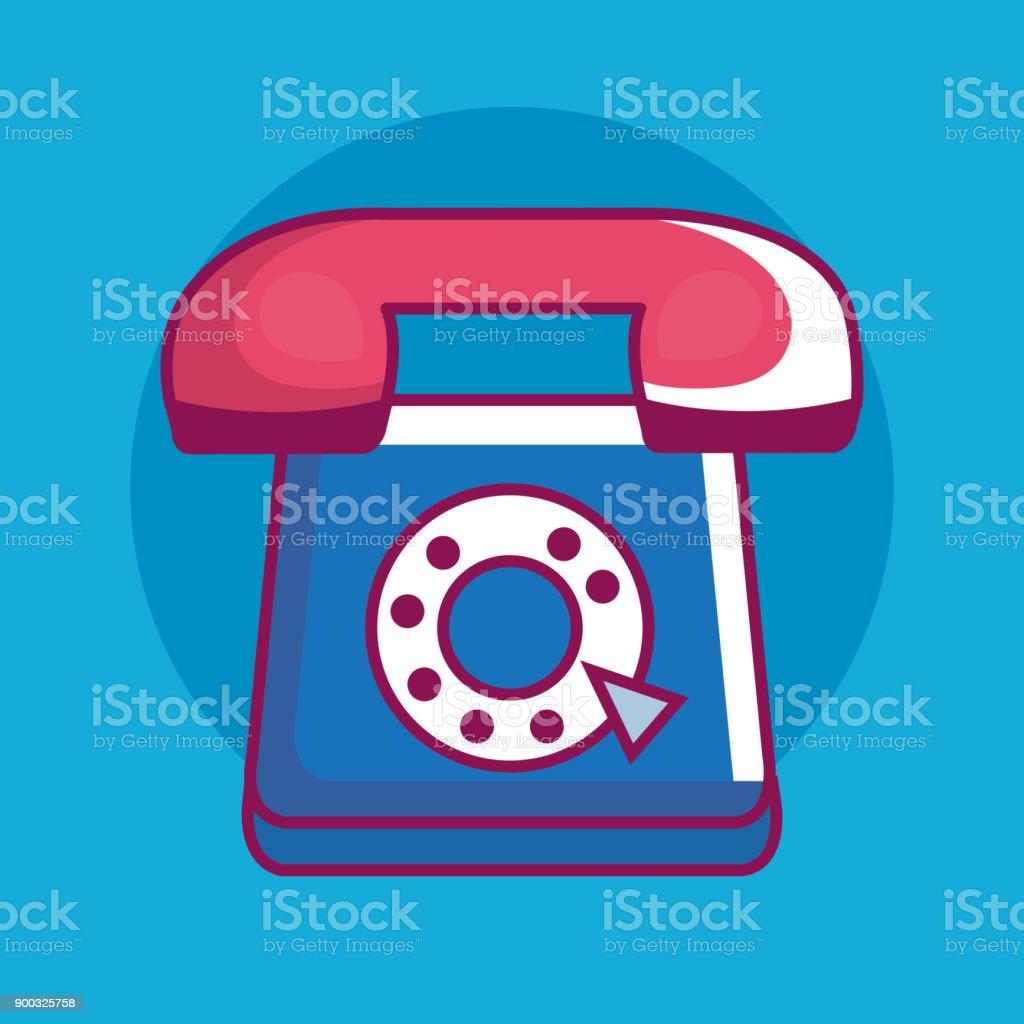 Retro-Technologie Telefonsymbol – Vektorgrafik