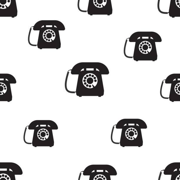 Telephone seamless pattern vector art illustration