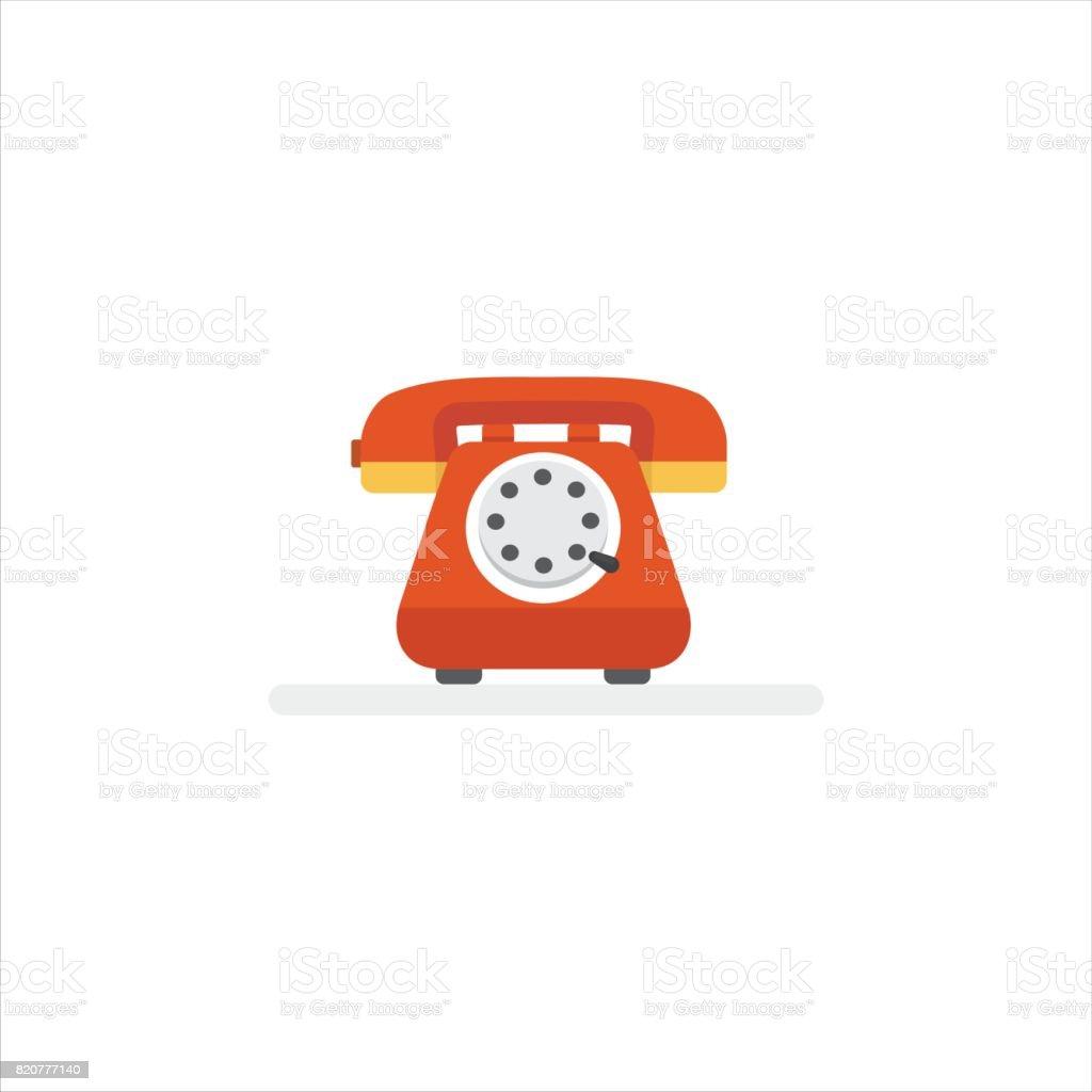 Telephone service Illustration. Flat Design of Vintage Telephone vector art illustration