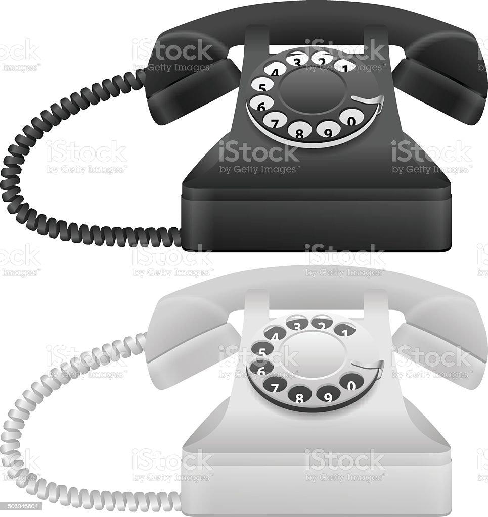 telephone set vector art illustration