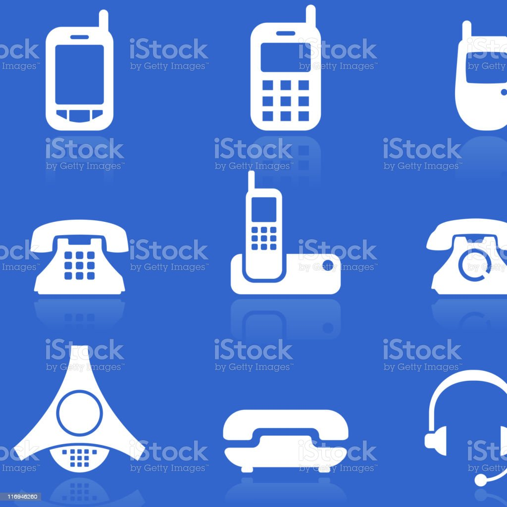 telephone white on blue royalty free vector icon set royalty-free stock vector art