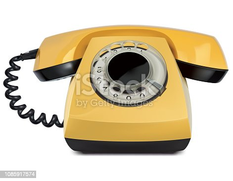 Telephone yellow vintage, isolated. Vector 3d Illustration