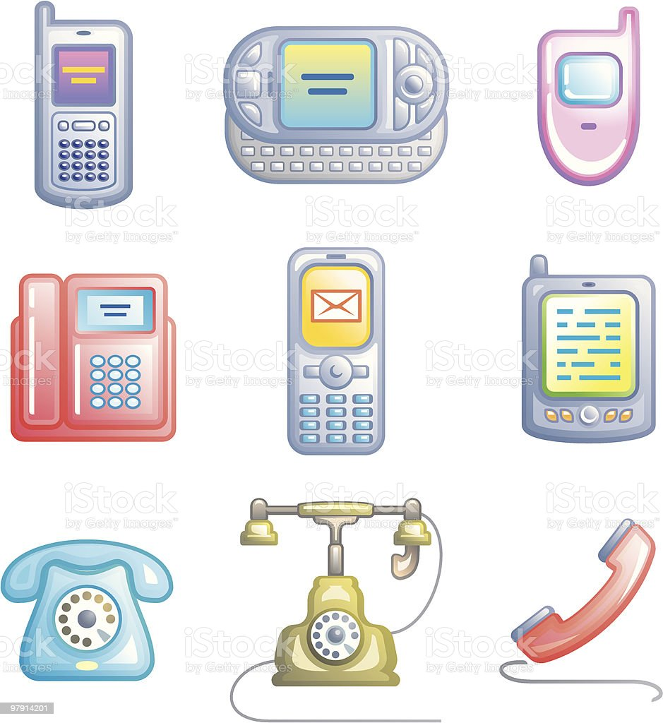 Telephones, mobile phones and devices royalty-free stock vector art