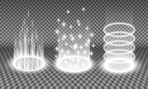Teleport light effects vector illustration Teleport light effects vector illustration, various sci-fi or magical portals isolated on a transparency background, teleportation procedure glow effect, futuristic holographic design element set dreamlike stock illustrations