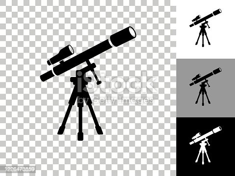 istock Telescope and Finder Scope on Tripod Icon on Checkerboard Transparent Background 1226473859