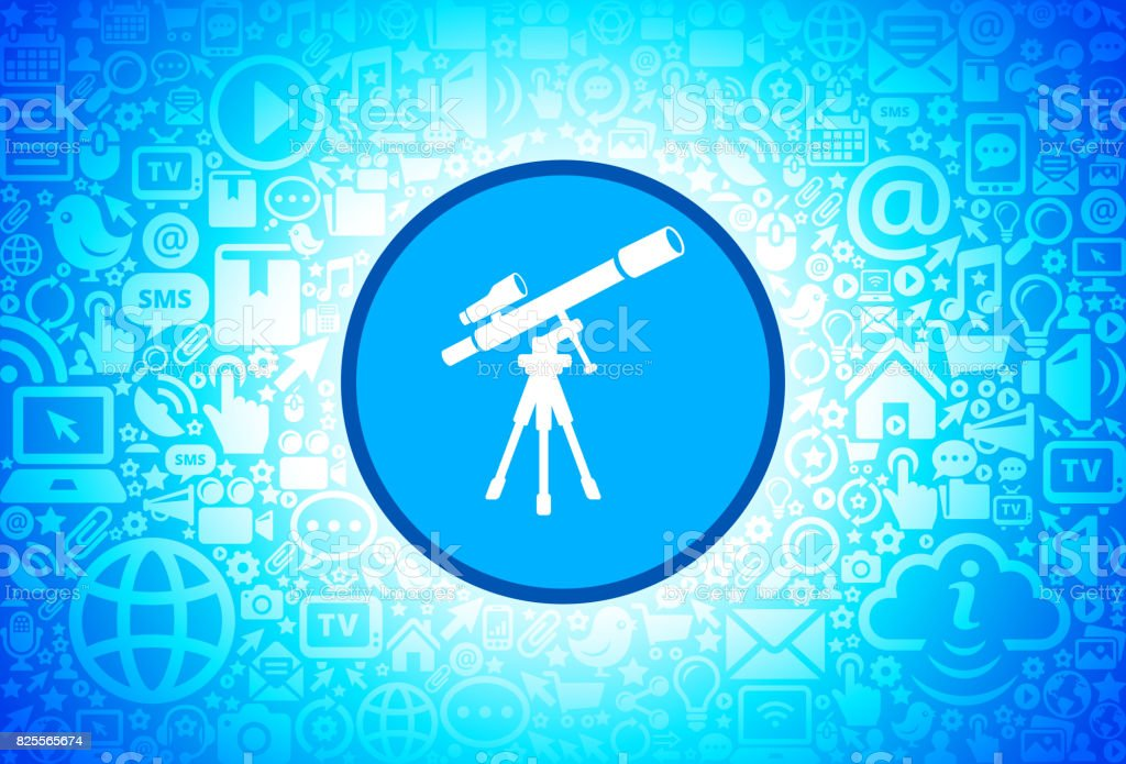 Telescope and Finder Scope on Tripod Icon on Internet Technology Background vector art illustration