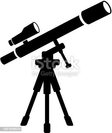 istock Telescope and Finder Scope on Tripod Icon with Long Shadow 1061848024