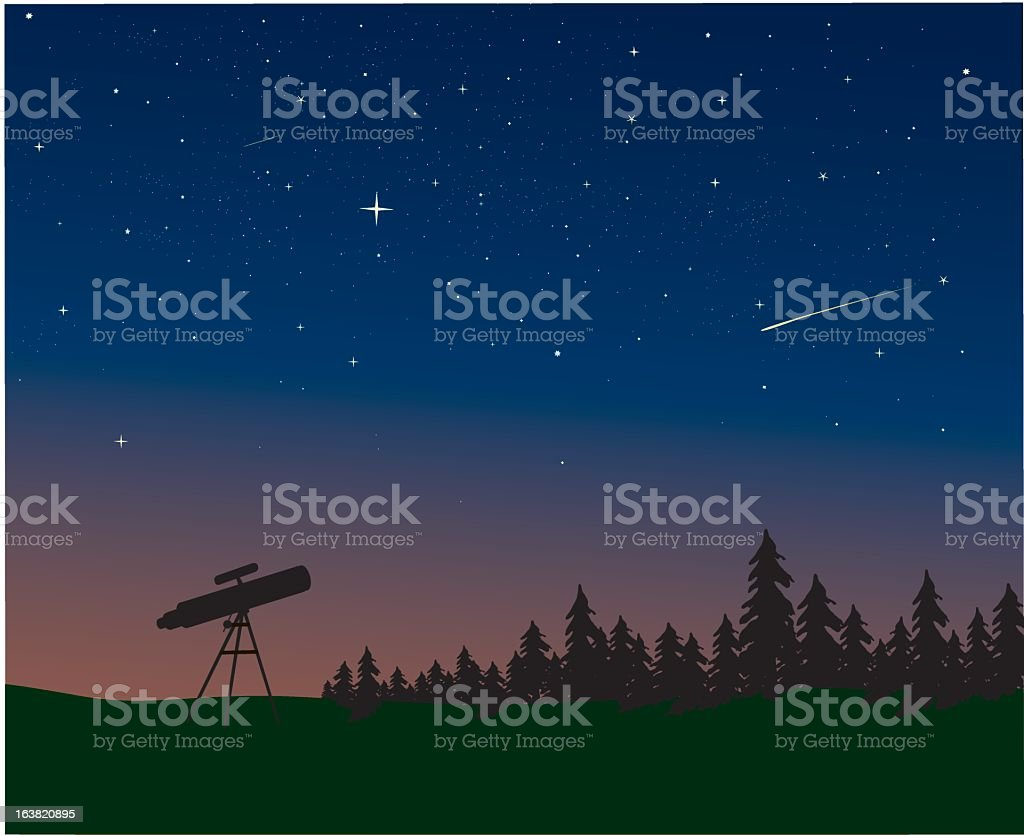 Telescope and night sky with shooting star vector art illustration