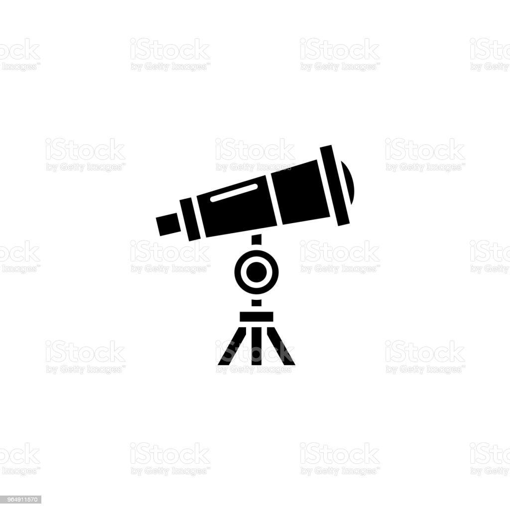 望遠鏡黑色圖示概念。望遠鏡平面向量符號, 符號, 插圖。 - 免版稅Planetarium - Building圖庫向量圖形