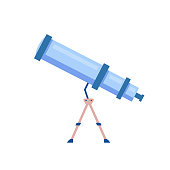 Telescope cartoon vector illustration. Tool to observe night sky. Planetarium instrument, astrological discovery. Spyglass flat color object. Device with magnifying lens isolated on white background