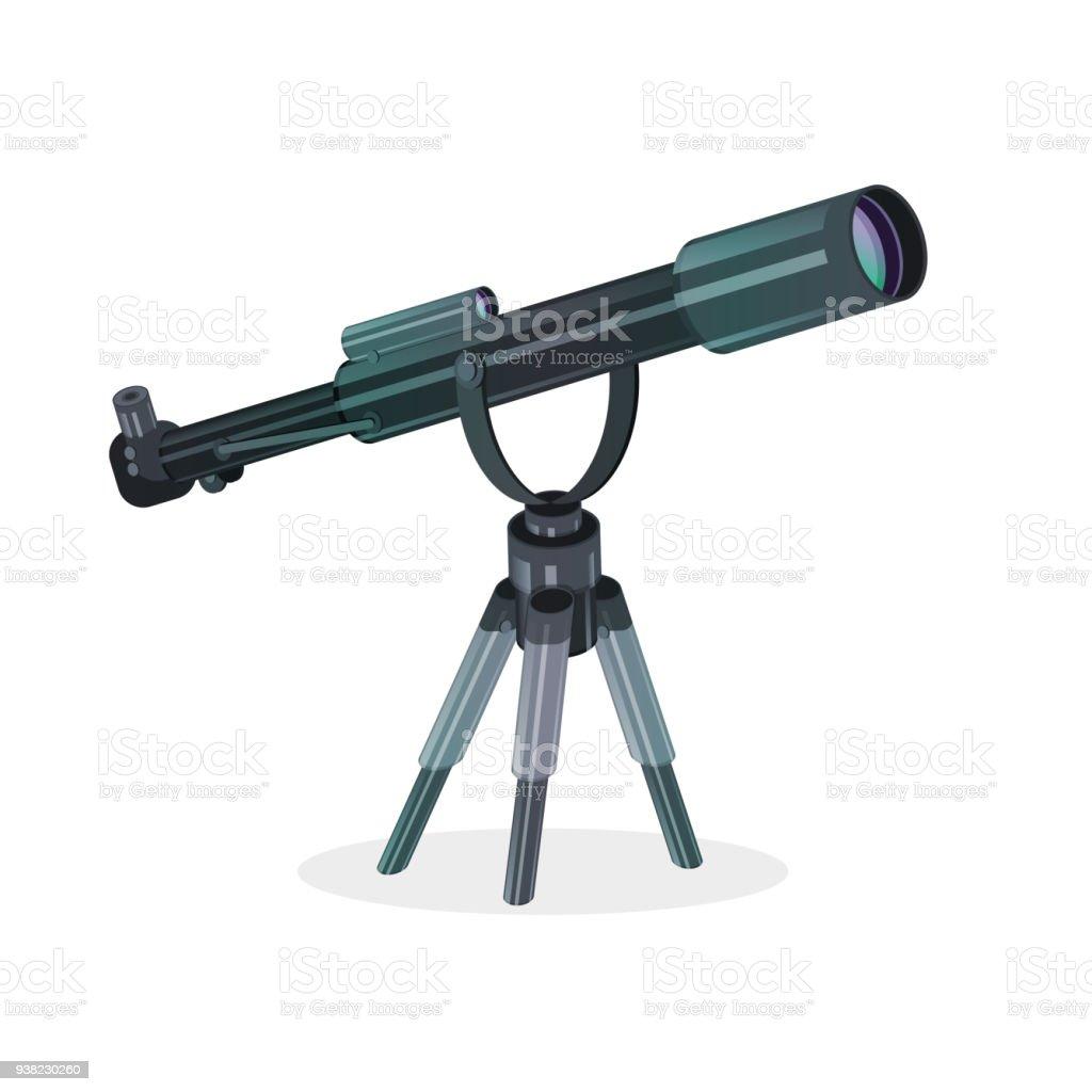 Icône plate de télescope isolé sur blanc. - Illustration vectorielle