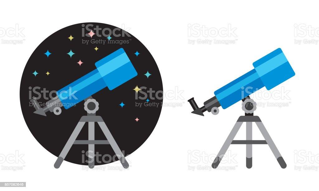 Telescópio ícone plana - ilustração de arte em vetor