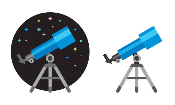 telescope flat icon - astronomy telescope stock illustrations