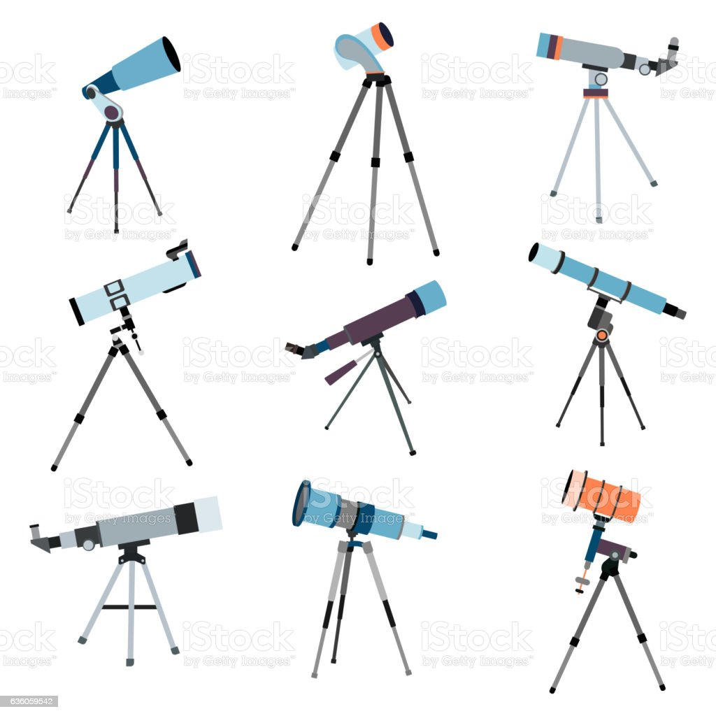 Telescope for astronomy. Optical instrument  search cosmos space. Vector vector art illustration