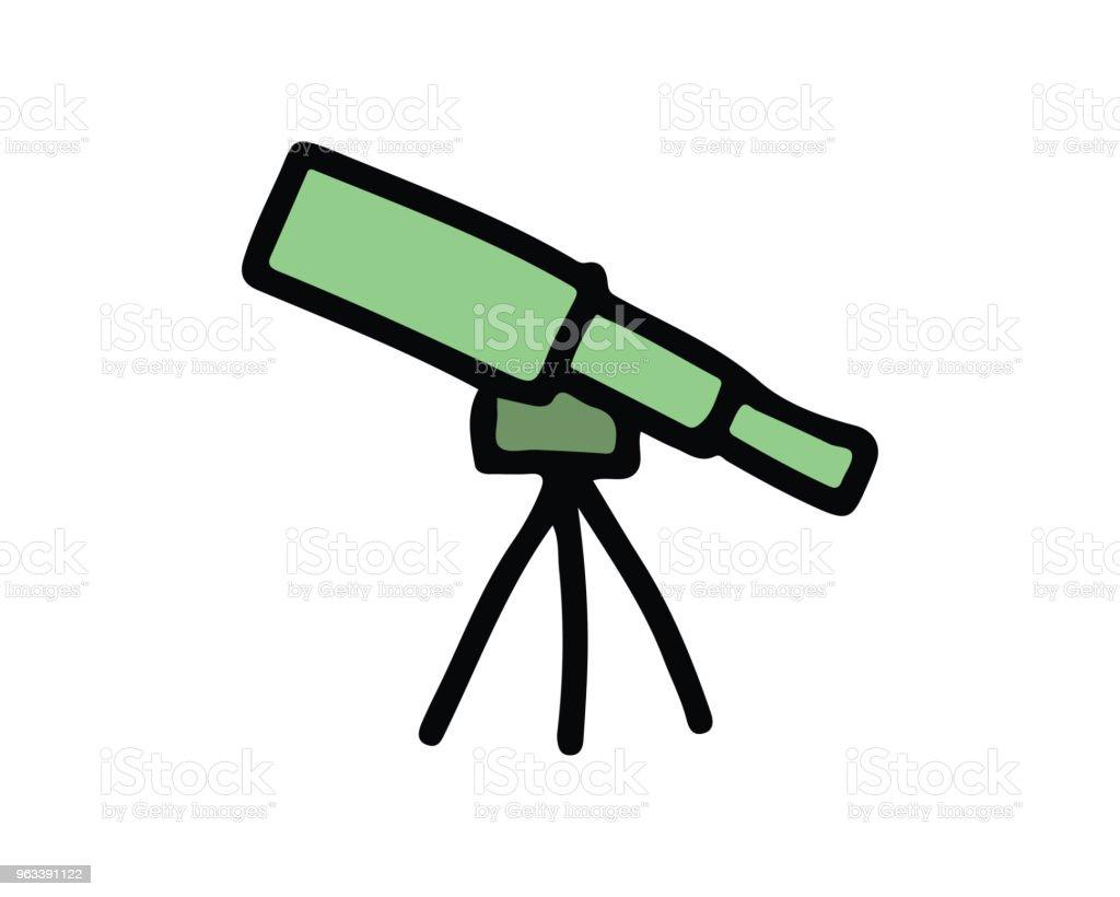 ilustracja projektu ikony teleskopu, ręcznie rysowana konstrukcja stylu - Grafika wektorowa royalty-free (Astronomia)