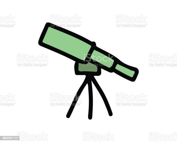 Ilustracja Projektu Ikony Teleskopu Ręcznie Rysowana Konstrukcja Stylu - Stockowe grafiki wektorowe i więcej obrazów Astronomia