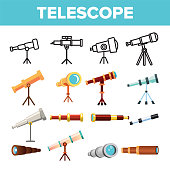 Telescope Icon Set Vector. Spyglass Discover Tool. Astronomy Science Magnify Instrument. Learning Universe. Planetarium Watching Lens. Flat Illustration