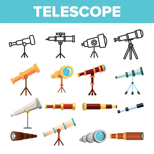 Telescope Icon Set Vector. Spyglass Discover Tool. Astronomy Science Magnify Instrument. Learning Universe. Planetarium Watching Lens. Line, Flat Illustration Telescope Icon Set Vector. Spyglass Discover Tool. Astronomy Science Magnify Instrument. Learning Universe. Planetarium Watching Lens. Flat Illustration astronomy stock illustrations
