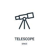 istock telescope icon vector from space collection. Thin line telescope outline icon vector illustration. 1143613724