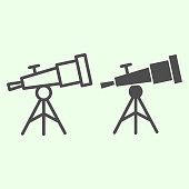 istock Telescope line and solid icon. Astronomy observe planetarium tool outline style pictogram on white background. Universe and solar system explore for mobile concept and web design. Vector graphics. 1222148035