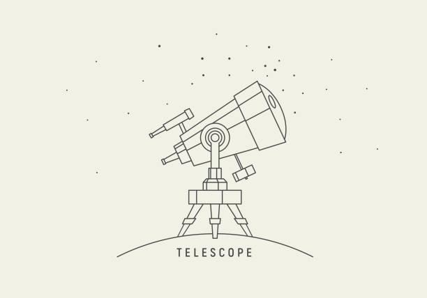 teleskop. linie art vektor - sternwarte stock-grafiken, -clipart, -cartoons und -symbole