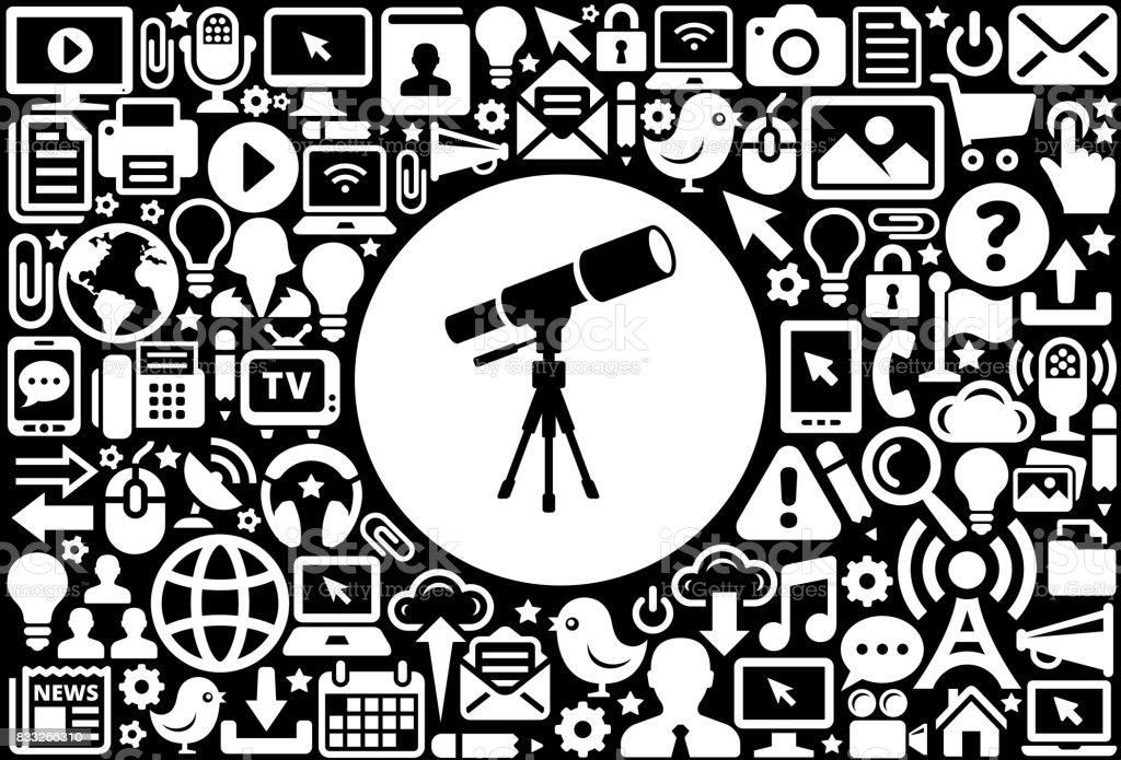Teleskop auf dem stativ symbol schwarz weiß internet technologie