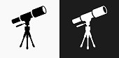 istock Telescope on Tripod Icon on Black and White Vector Backgrounds 695928908