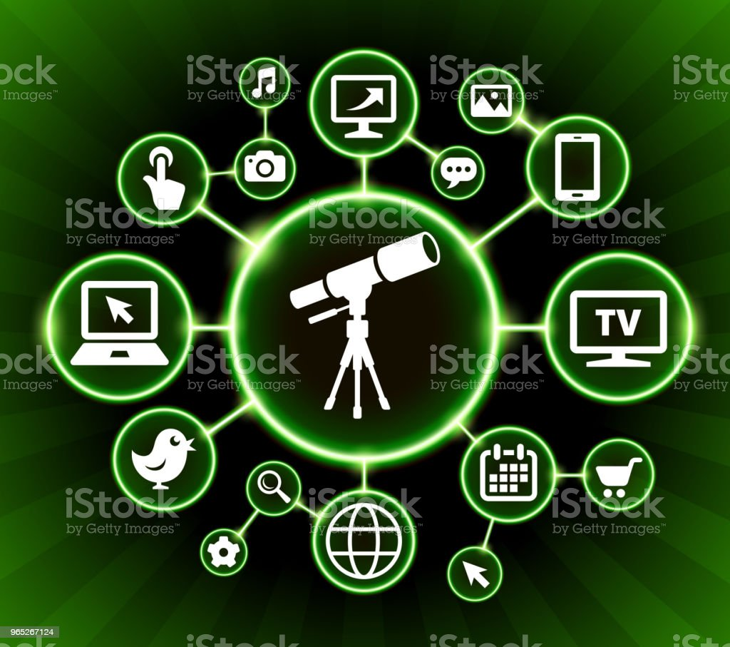 Telescope on Tripod Internet Communication Technology Dark Buttons Background royalty-free telescope on tripod internet communication technology dark buttons background stock illustration - download image now