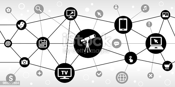 Telescope on Tripod Internet Communication Technology Triangular Node Pattern Background. the main icon is in the center of this illustration on a black circle, it is connected to other black circles with technology and modern communication icons on them. The black circles form a triangular node pattern and are connected by thin black lines. the background of the illustration is white. The individual icons include various technology related images such as computers, cell phone, tv set and many more.