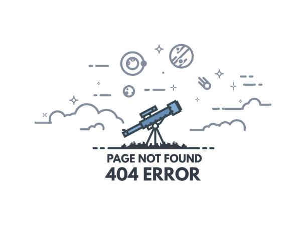 telescope searching 404 banner - lost stock illustrations