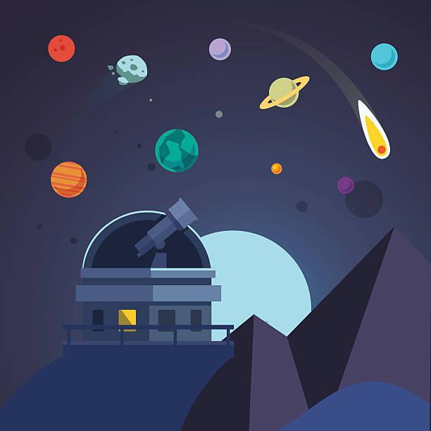 telescope sitzt in einer offenen observatory dome - sternwarte stock-grafiken, -clipart, -cartoons und -symbole
