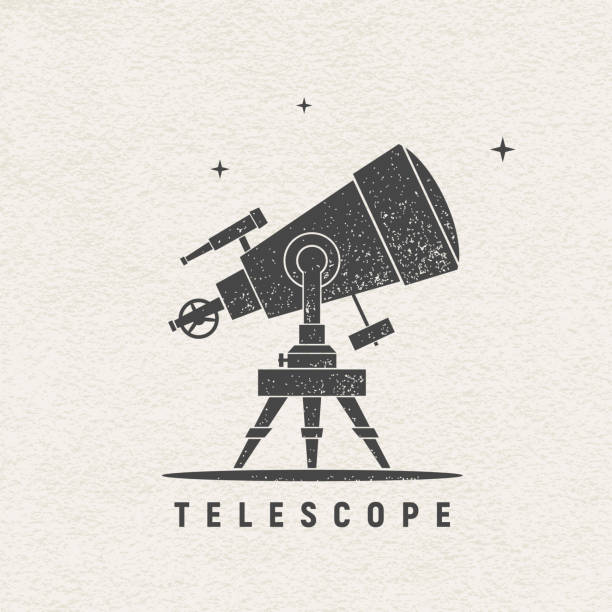 telescope. vector silhouette printed on textured paper - astronomy telescope stock illustrations