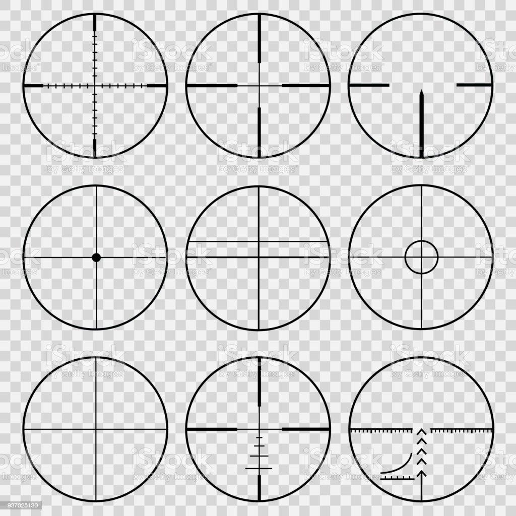 telescopic sights vector art illustration