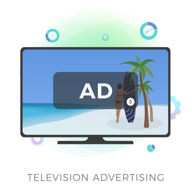 television advertising flat vector icon. multimedia targeted tv marketing and addressable video broadcasting advertising concept. isolated on white background vector illustration - addressable stock illustrations
