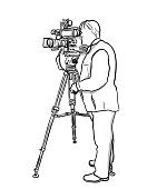 Illustration of a man working in broadcast television using the video camera on a tripod