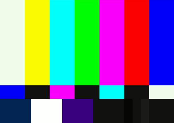 stockillustraties, clipart, cartoons en iconen met televisie kleur testpatroon - uitzenden