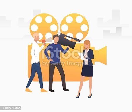 Television crew shooting news vector illustration. Reportage, show, advertising. Broadcasting concept. Creative design for layouts, web pages, banners