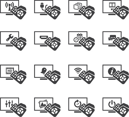Television Functions Silhouette icons 1