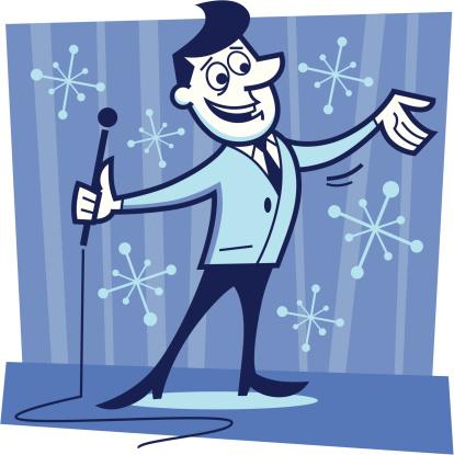 illustration of a television host