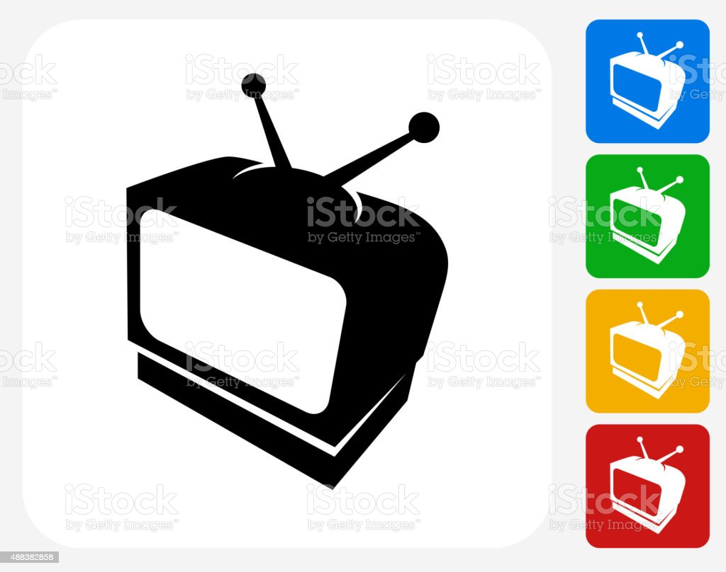 Television Icon Flat Graphic Design vector art illustration